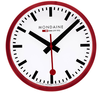 Mondaine - Swiss Railway Clock, Red