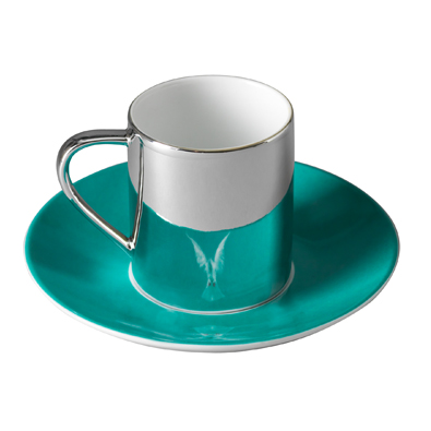 Damien Hirst - The Incomplete Truth anamorphic cup and saucer