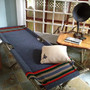 Indian VS Indian - Vintage Indian Summer Cot, Pendleton, Blue Striped Camp Blanket Fabric, Army Camping Cot