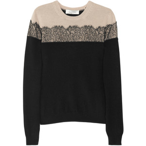 VALENTINO - Valentino Lace-appliquéd wool-blend sweater