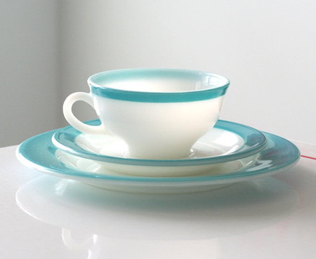 Pyrex - Turquoise Stripe Cup, Saucer and Dinner Plate