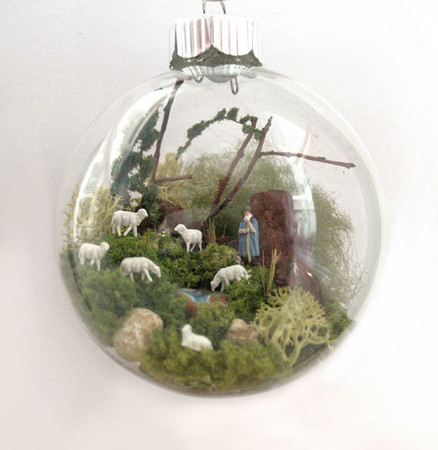 A Shepherd with Sheep Scene Glass Ornament