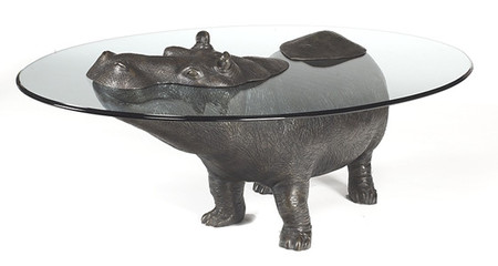 Bronze Submerged Hippo Table