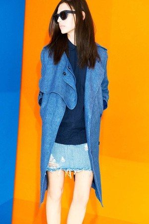 Acne - linen denim trench coat