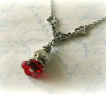 Luulla - Red flower bud necklace jewelry with antiqued silver heart charms