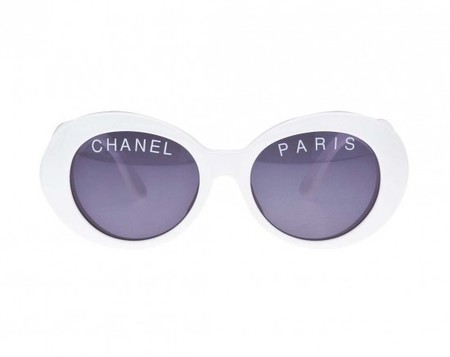 "CHANEL - ""CHANEL PARIS"" LOGO WHITE SUNGLASSES"
