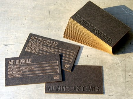 Villainy Black Business Card, Gold Edge