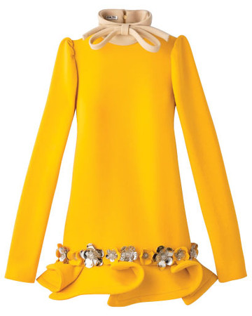 Metal-flower embellished long sleeve dress with bow detail