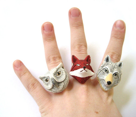 SpotLightJewelry  - Woodland Animals Matchings Rings Ceramic Folk Set of Three 3 Best Friend Rings