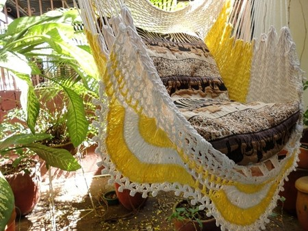 Etsy - Sitting Hammock with Fringe, Hanging Chair Natural Cotton & Wood, Beige & Yellow