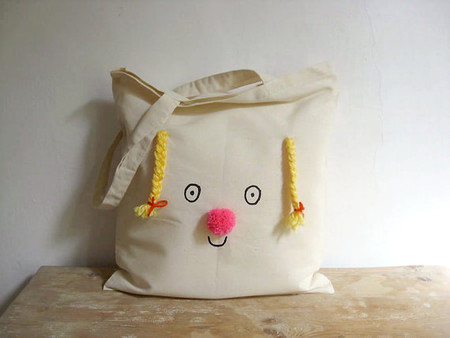 Tote bag on cotton - Miss Sunshine, happy face with yellow braids and neon pink pompom