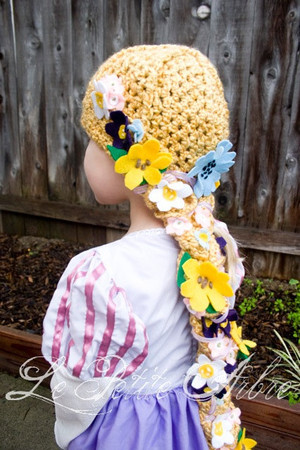 lepetitearbre - Child Rapunzel Hair Crochet Hat with Braid